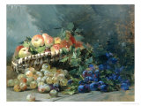 Still Life of Apples and Greengages in a Basket Giclee Print by Albert Tibulle de Furcy Lavault