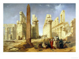 Touring Egyp, The Temple of Karnak at Luxor Giclee Print by Jacob Jacobs