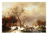 Meeting in the Snow Giclee Print by Frederik Marianus Kruseman
