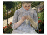 Young Girl in the Garden, Woman Sewing, c.1880 Posters by Mary Cassatt
