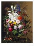 Lilies, Pelargonium and Roses in a Greek Vase Giclee-trykk av Johan Laurentz Jensen