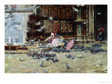 Feeding the Pigeons, St. Mark's Square, Venice Giclee Print by Lieven Herremans