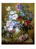 Rich Still Life of Summer Flowers Giclee Print by Camille de Chantereine