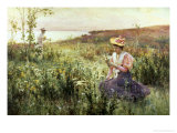 Gathering Wild Flowers Giclee Print by Alfred Augustus Glendenning