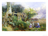 Gathering Primroses Giclee Print by Myles Birket Foster