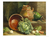 Still Life of Cabbages, Carrot and Turnips Giclee Print by William Hughes