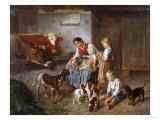 Playing with the Puppies Giclee Print by Adolf Eberle
