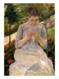 Young Girl in the Garden, Woman Sewing, c.1880 Giclee Print by Mary Cassatt