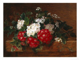 Hawthorn on a Marble Ledge Giclee Print by Johan Laurentz Jensen