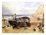 On the Beach at Bonchurch Giclee Print by Myles Birket Foster
