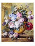 Still Life of Roses, Delphiniums and Tulips Giclee Print by Jacobus Linthorst