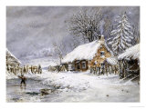 Cottage in Winter Giclee Print by Edward William Cooke