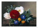Dahlia with White Poppies, Cherianthus and Morning Glories Giclee Print by Johan Laurentz Jensen