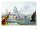 St. Paul's Cathedral and the City of London Giclée-Druck von George Chambers