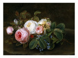 Still Life with Roses and Forget-Me-Nots Reproduction proc&#233;d&#233; gicl&#233;e par Hansine Eckersberg