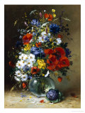 Summer Flowers in a Glass Vase Giclee Print by Eugene Henri Cauchois