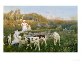 Feeding the Calves Giclee Print by Thomas J. Lloyd