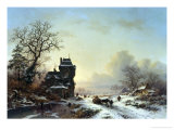 Horse-Drawn Sledge in the Snow Giclee Print by Frederik Marianus Kruseman