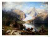 View of Gosau Lake near Salzburg Giclee Print by August Wilhelm Leu