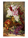 Still Life of Hollyhocks, Peaches and Plums Giclee Print by Eugene Claude