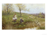 Picking Primroses Giclee Print by Thomas J. Lloyd