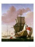 Galleon in Full Sail Giclee-trykk av Jan Karel Donatus Van Beecq