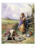 Reading by the Well Giclee Print by Myles Birket Foster