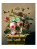 Still Life of Pink Roses in a Glass Vase Reproduction procédé giclée par Hans Hermann