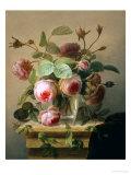 Still Life of Pink Roses in a Glass Vase Giclee-trykk av Hans Hermann