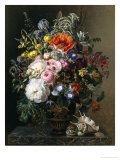 Poppy, Peonies, Roses and Naturtiums in a Greek Vase Giclee Print by Johan Laurentz Jensen