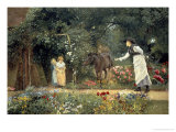 Feeding a Pony in a Surrey Garden Giclee Print by Edward Killingworth Johnson