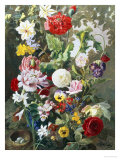 Still Life of Summer Flowers Giclee Print by C.f. Hurten