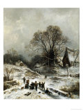 Winter Scene with Children Playing Giclee Print by Adolf Heinrich Lier