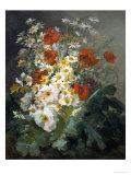 Still Life of Daisies and Poppies Giclee Print by Pierre Gontier