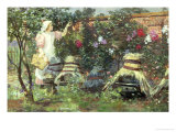 Picking Fruit in a Suffolk Garden Giclee Print by Lexden Lewis Pocock