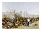 Flower Sellers on the Banks of the Seine Giclee Print by Gustave Fraipont