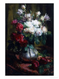 Red and White Roses Giclee Print by Frans Mortelmans