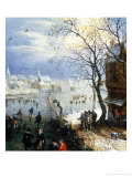 Skating Scene Giclee Print by Adriaen Pietersz van de Venne