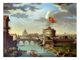 St. Peter's and the Castel Sant Angelo, Rome Giclee Print