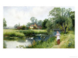 Walk by the River Giclee Print by Ernest Walbourn