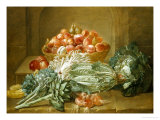 Still Life of Artichokes, Cabbages and Peaches Giclee Print by Jean Jacques Spoede