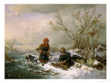 Collecting Firewood on a Winter's Day Giclee Print by Ludwig Mecklenburg