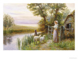 Awaiting the Return of the Sheep in the Sunset Giclee Print by Ernest Walbourn