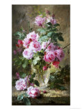 Still Life of Pink Roses in a Glass Vase Giclee Print by Frans Mortelmans