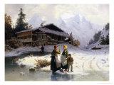 Frozen Winter Landscape Giclee Print by Johannes Bartholomaus Duntze