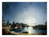 Full Moon on the River at Brentford Giclee Print by Henry Pether