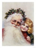 Holly Crowned Father Christmas and Child Giclee Print