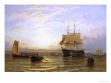 H.M.S. Wellington in Portsmouth Harbor Giclee Print by George Stainton