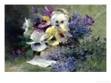 Pansies and Forget-Me-Not Reproduction proc&#233;d&#233; gicl&#233;e par Albert Tibulle de Furcy Lavault