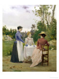 Taking Tea in the Garden Giclee Print by Henri Adrien Tanoux